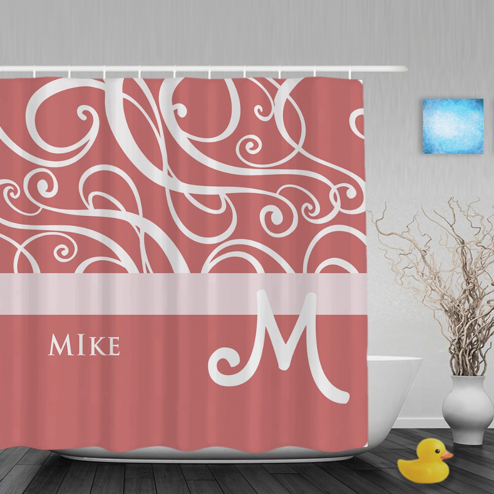 Customized Name Monogram Bathroom Shower Curtains Elegant Soft Pink White Swirls Shower Curtain Polyester Fabric With Hooks