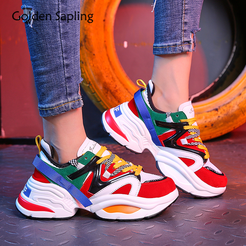 Golden Sapling Sneakers for Women 2019 New Women s Running Shoes Breathable Air Mesh PU Platform