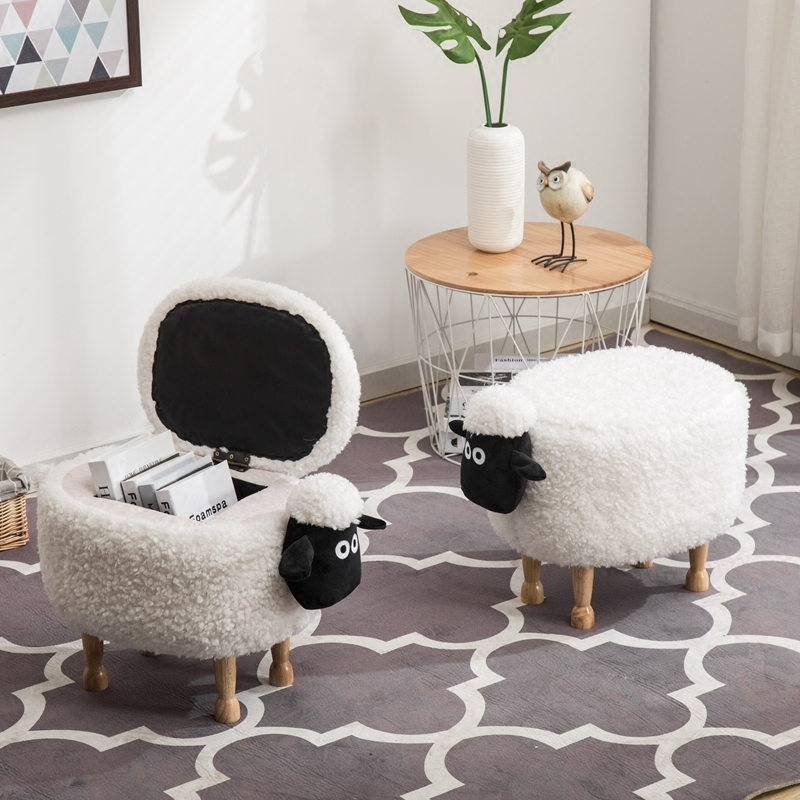 2018 nouveau bois organisateur mouton boîte de rangement enfants dessin animé chaise Animal tabouret divers personnalisation personnalisée