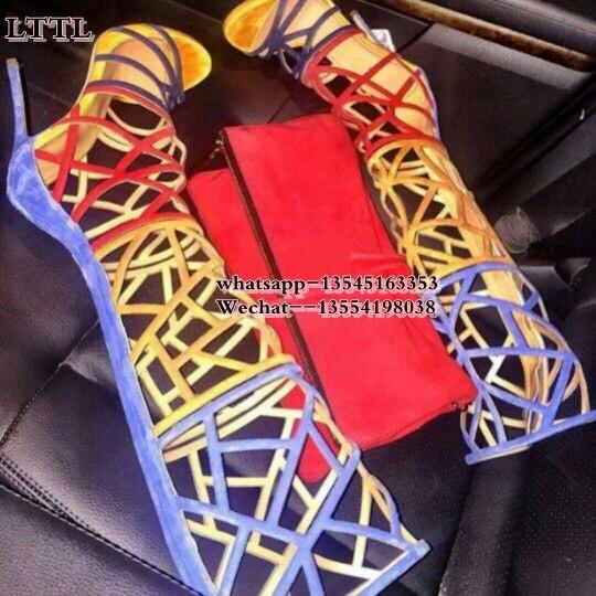 The Picture La Zapatos Botas Fiesta Gladiador Las Sexy Rodilla Largo Alto As Tacón Por Mujeres Encima as Bombas De Verano Sandalias Picture 1x1WqBU