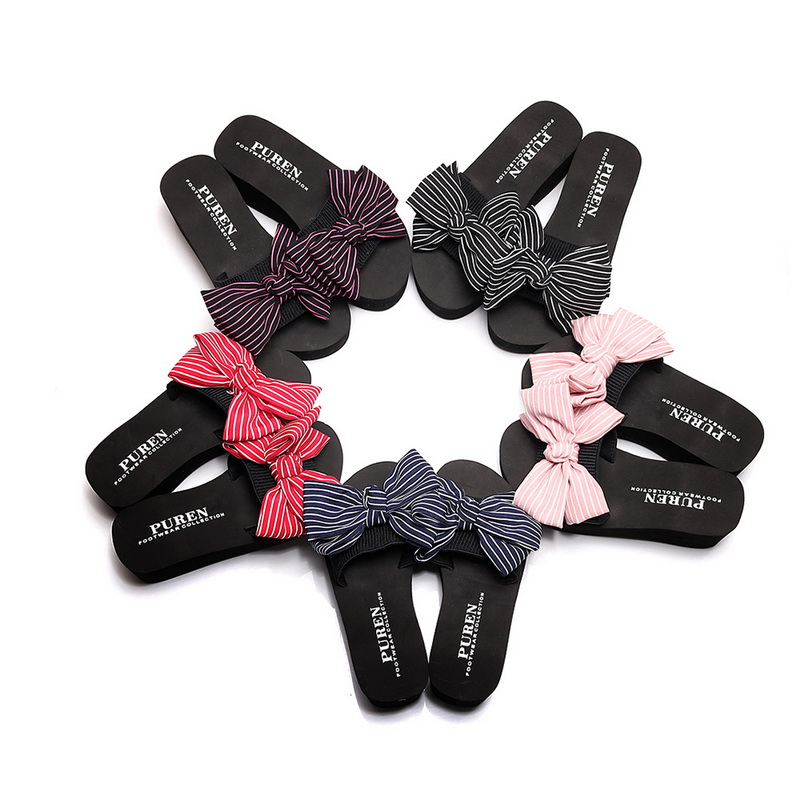 Laamei Women Slippers Bow Slides Summer Beach Shoes Woman Flat Sandals 2018 Slippers Flat Heels Flip Flops Ladies Boho Slides 6cm high heels women slides ladies slippers sandals flips flops 2018 summer beach platform shoes woman fashion comfortable flats page 4