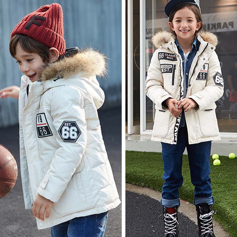 Girls Boys Winter Jackets Thick Warm Fashion Kids Coat Fur Collar Hooded Outerwear Boys Down Jacket 90% Duck Down Coats 4 Colors fur collar hooded girls duck down jackets children long patten coat kids thick warm snowsuit parka boys letter printed overcoat