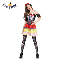 Day of the Dead Adult Halloween Costume Flower Sugar Skull Ladies Fancy Dress Miss Dead Mexican Halloween Costumes for Women
