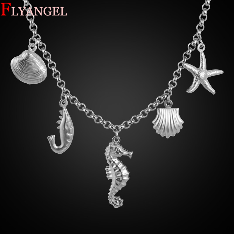 Fashion Choker Stainless Steel Marine Animal World Seahorse Mussel Pendant Necklace Men Women Mothers Day Birthday DIY Gift