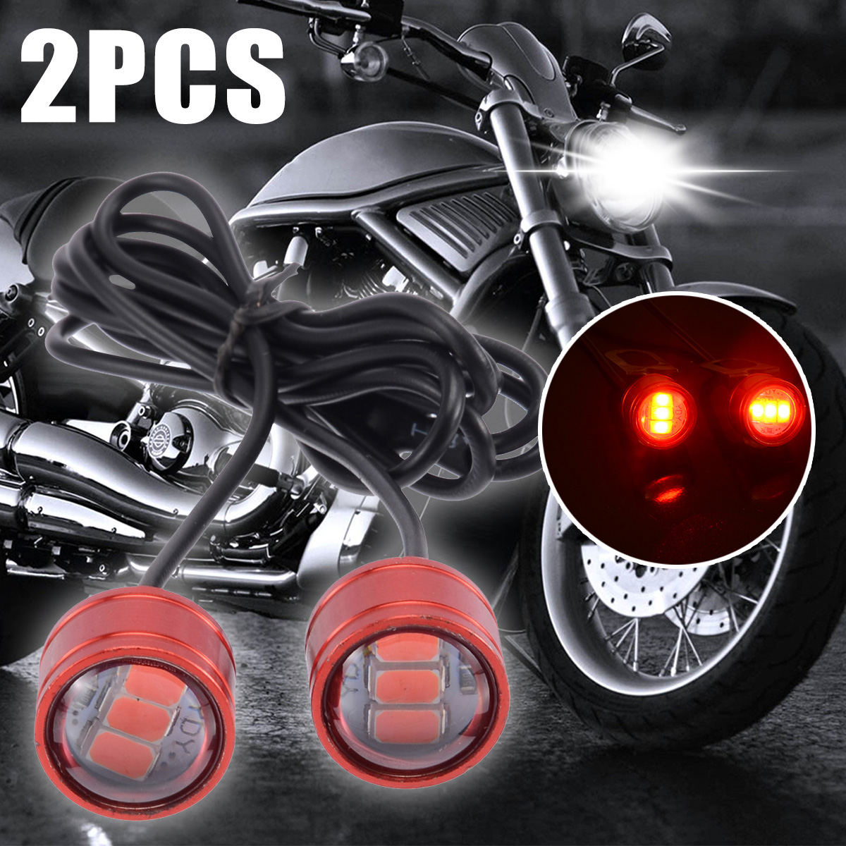 2pcs 12V 10W Motorcycle Rearview Mirror Decor Light 3LED Red Flash Strobe Lamp For ATV Scooter Off-road Decoration