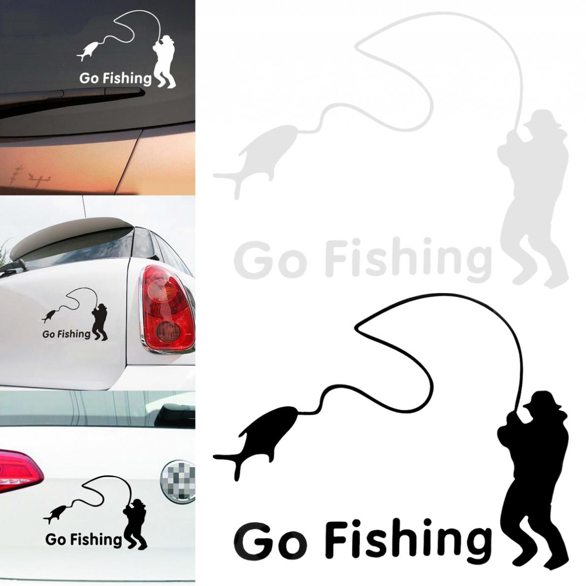 2 Colors 14 x 11CM Waterproof PET Fishing Pattern Reflective Material Car Sticker Accessories