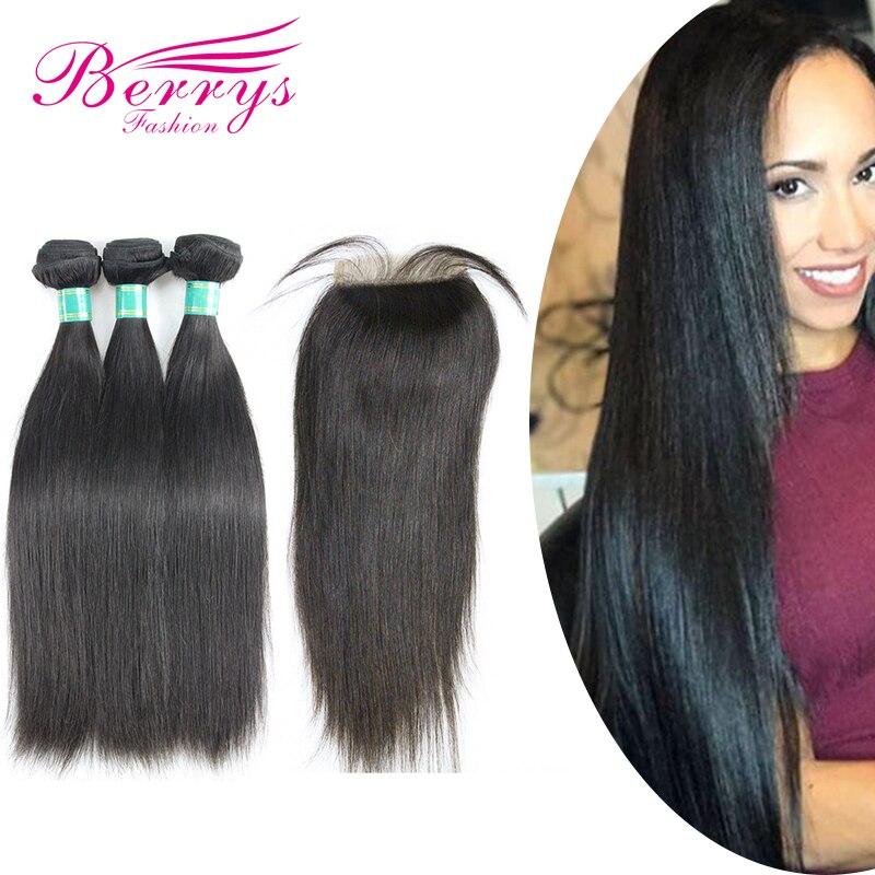 3 Bundles with Closure Brazilian Straight 10A Virgin Hair Weave Nature 1B 100 Human Hair Extension