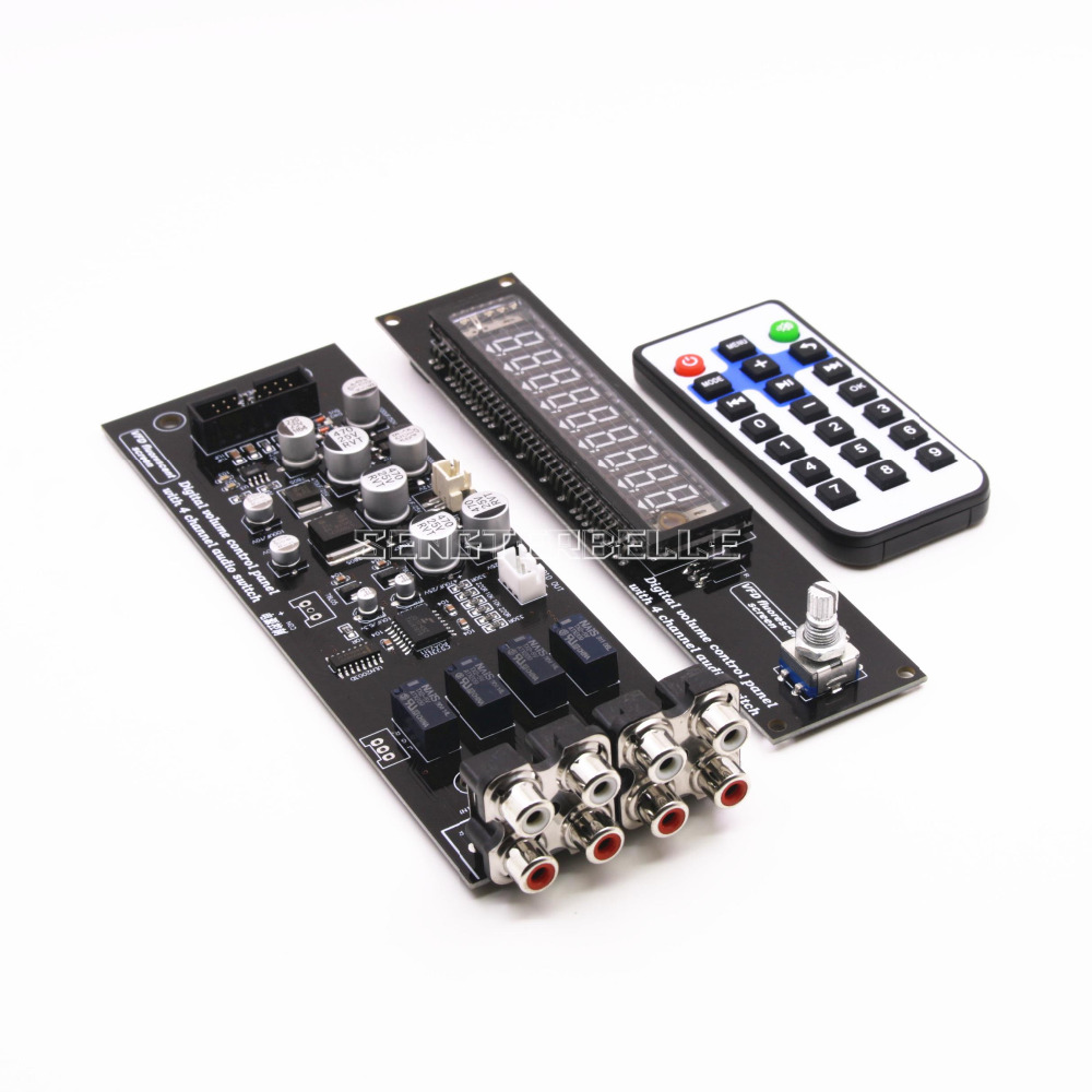 Assembly CS3310 Remote Preamplifier Board With VFD Display 4-way Input HiFi Preamp Remote Control Digital Volume Control Board