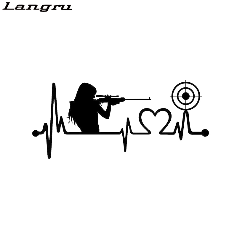 Langru Interesting Gun Girl Heartbeat Target Shooting Love Car Sticker Vinyl Decoration  Jdm(China)