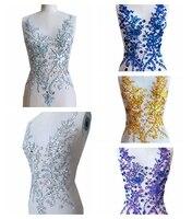 Zbroh tay Tinh Khiết được thực hiện nhiều hơn màu sew trên Thạch sequins hạt đính trên lưới crystals patches 50*30 cm dress accessory