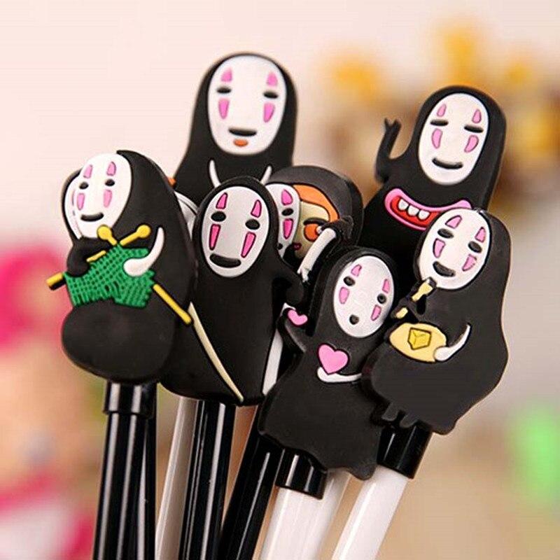 4pcs/lot Japanese Anime Miyazaki Hayao No Face Gel Pen 0.5mm Point Black Ink Roller Ball Pens School Office Supply  Gift