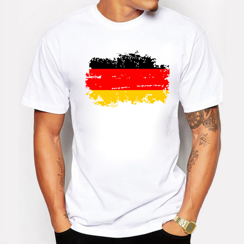 New Summer Germany Flag Fans Cheer Men T Shirts Cotton Nostalgia Germany Flag Style Fitness T-shirts For Men Tops