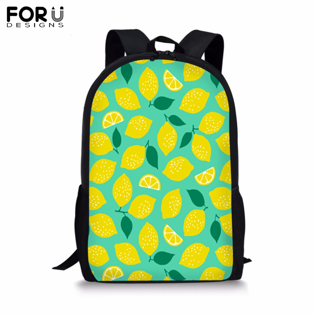 FORUDESIGNS Fruit Print Backpack for Teenager Girls Boy Customize Image School Bag Childrens BookBag Student Mochila Bolsa