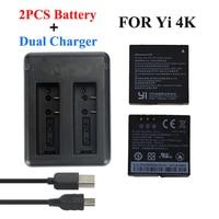 Xiaomi Yi 4K 2 Battery 1400Mah 2 Pcs Battery Xiao Yi 2 USB Dual Battery Charger
