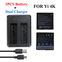 Xiaomi Yi 4K 2 Battery 1400Mah 2 Pcs Battery Xiao Yi 2 USB Dual Battery Charger