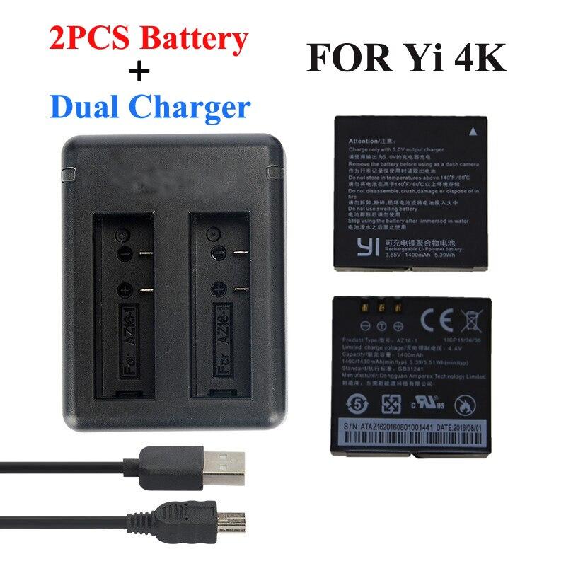 Xiaomi Yi 4 K 2 Batterie 1400 Mah 2 Pcs Batterie + Xiao Yi 2 USB Double Batterie Chargeur Pour Sport Yi 4 K D'action Caméra Accessoires