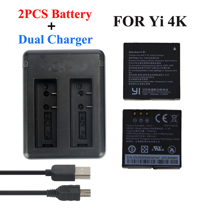 Xiaomi Yi 4K 2 Battery 1400Mah 2 Pcs Battery + Xiao Yi 2 USB Dual Battery Charger For Sport Yi 4K Action Camera Accessories for xiaomi yi 4k 4k yi lite 1400mah 2 pcs battery xiao yi 2 dual battery charger for sport yi 4k action camera accessories