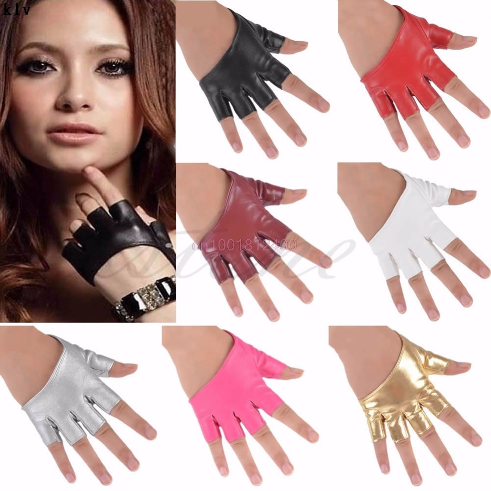 Fashion Gloves Half Finger PU Leather Gloves Ladys Fingerless Driving Show Gloves