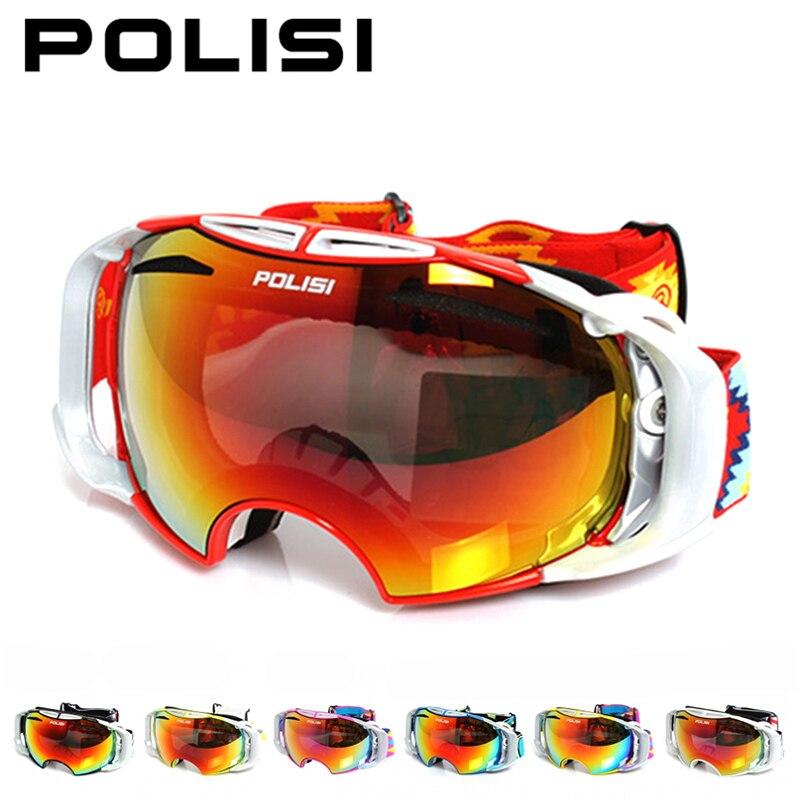 POLISI hiver Ski Snowboard lunettes motoneige Anti-buée lunettes UV400 extérieur Ski neige lunettes avec remplaçable 2 lentilles