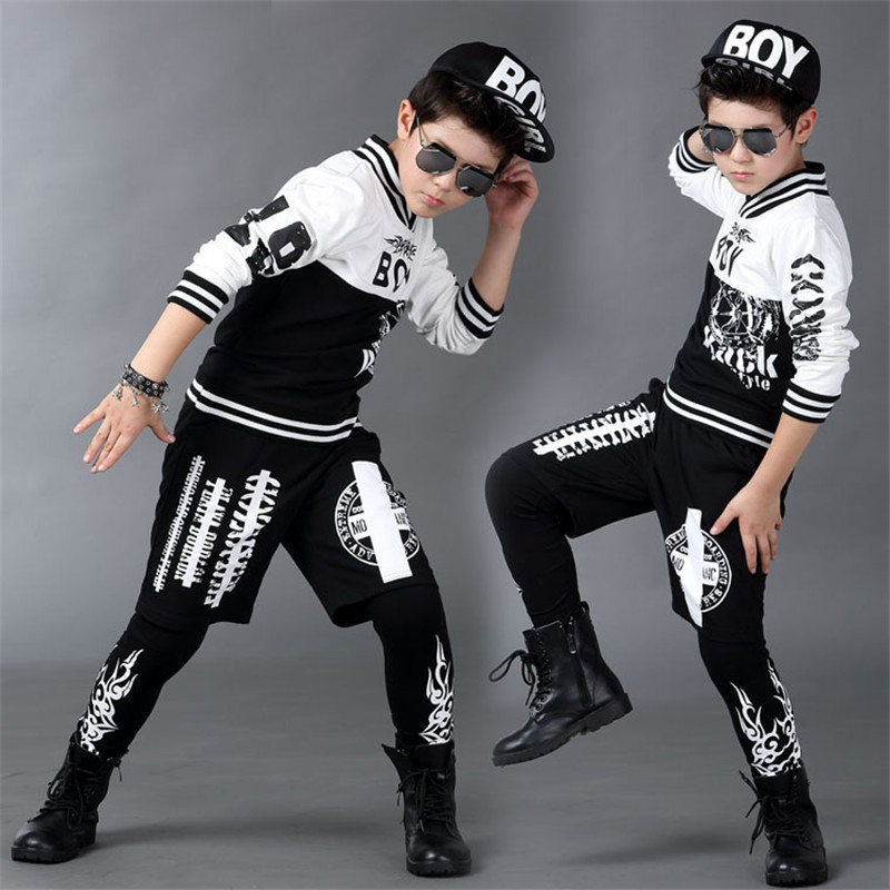 ФОТО Boys clothing hip-hop 4-13T children's sports suits performing kids tracksuit children clothing suit for boys teenage clothing
