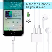 2 in 1 Charging Adapter Support ios 10.3 Enjoy music talk through Lighting Audio headphones while you charge For iPhone 7 7Plus