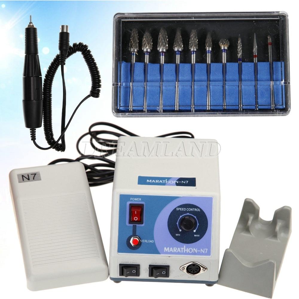 Marathon Dental Micromotor Polisher N7 + 35K RPM Handpiece + 10PC HP 2.35mm Burs dental lab marathon handpiece 35k rpm electric micromotor polishing drill burs