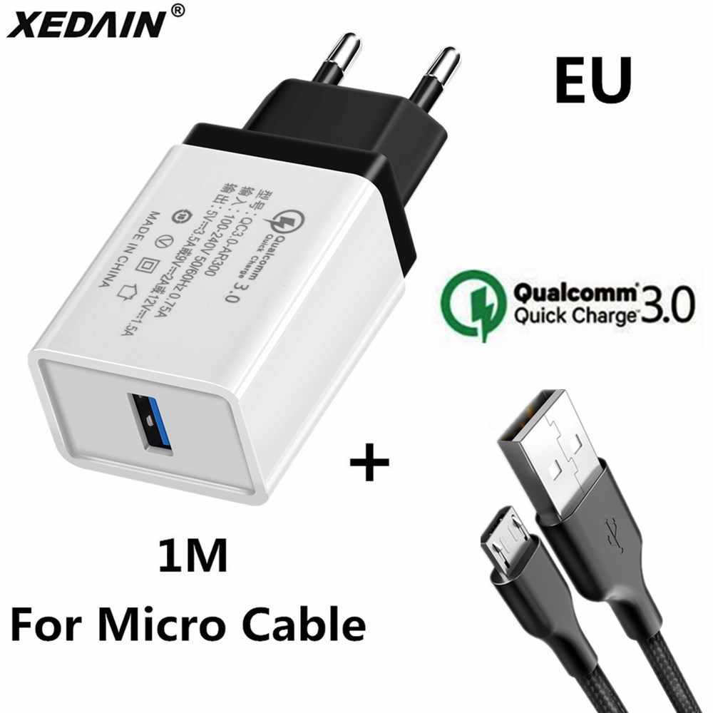 18W EU/USA Quick Charge QC 3.0 USB Phone Chargers Cable Fast Charger Wall Charger for Samsung Xiaomi Huawei Android Micro Cables