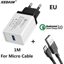 18W EU/USA Quick Charge QC 3.0 USB Phone Chargers Cable Fast Charger Wall Charger for Samsung Xiaomi Huawei Android Micro Cables(China)