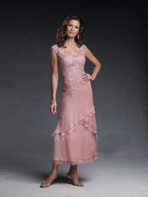 Sexy New Cap Sleeves Skin Pink Appliques Ankle Length Evening Mother Of The Groom Dresses CB 19651