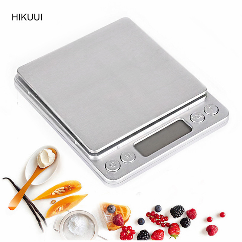 3kg x 0.1g Kitchen Digital Scale High Precision Electronic & LCD Display Stainless Steel Panel 6 Units Mode with 2 Trays