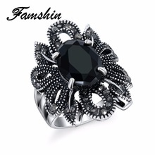 FAMSHIN Punk Rock Ring Jewelry Silver Color Ancient Ways Black Stones Hollow Out Female Personality Hipster Index Finger Rings