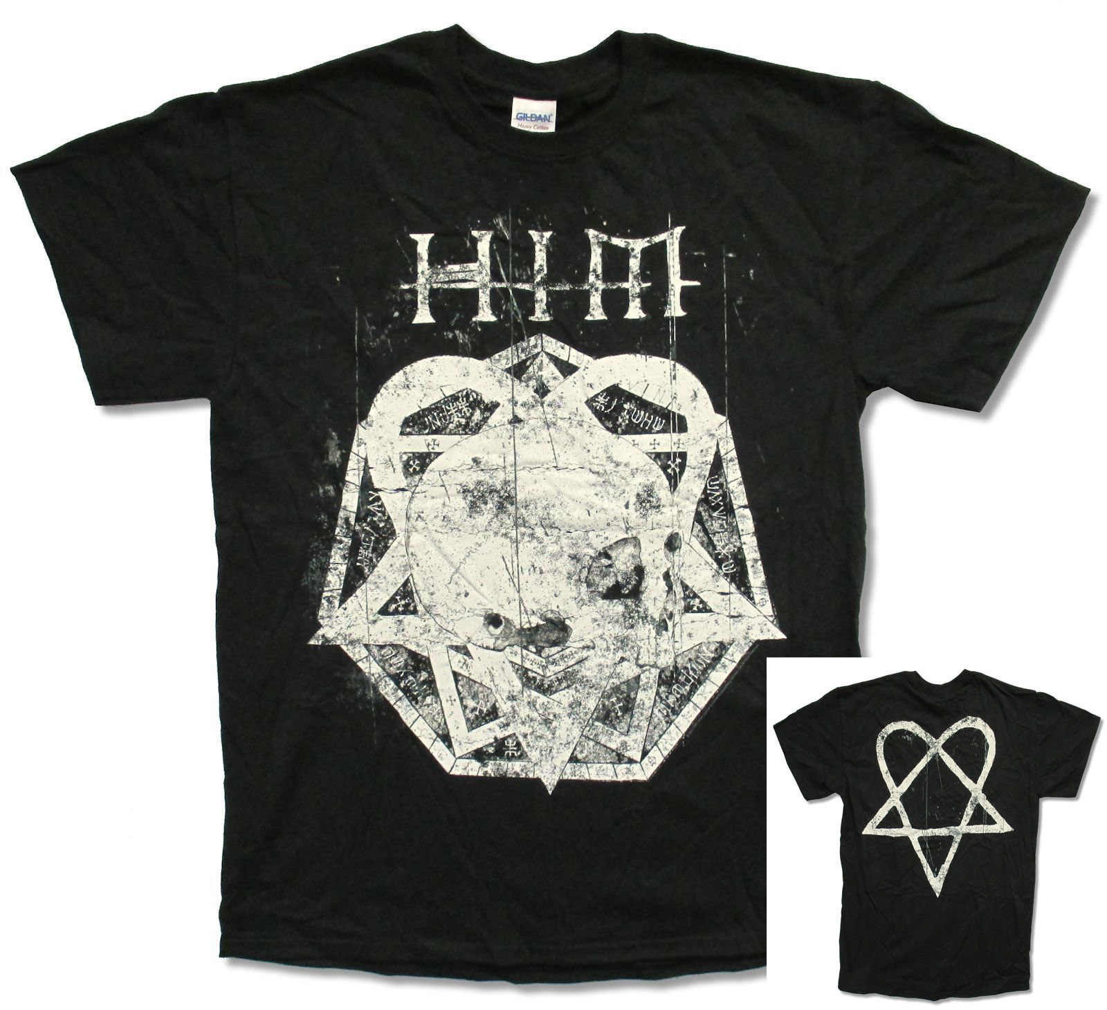 "HIM H.I.M. ""SKULLGRAM"" BLACK T-SHIRT NEW OFFICIAL ADULT BAND MUSIC HEARTAGRAM Cheap Crew Neck Men'S Top Tee"