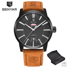 Mens Watches Top Brand Luxury BENYAR Men Sport Quartz Clock Man Army Military Leather Waterproof  Erket Kol Saati