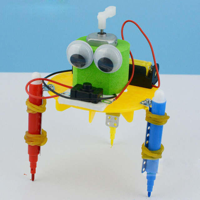 Creative Scientific Gizmo DIY Graffiti Robot Kids Puzzle Assembled Handmade Toy Simple Physics Teaching Resources Physics