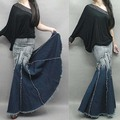 New fashion long denim skirt high waist Gradient tassel jeans skirts plus size trumpet mermaid maxi skirts