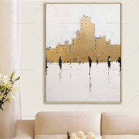 Gold City New Style Painting Handpainted Oil Painting On Canvas Painting Wall Art Wall Pictures For Living Room Home Decor