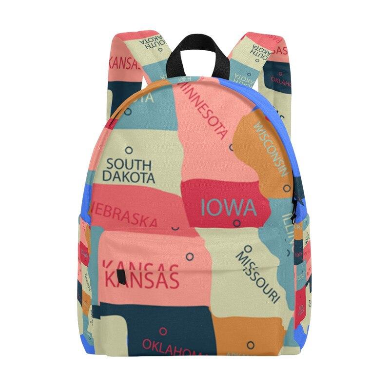 Backpack United States Map World Map Women Bags Book Bag Men Backpack Travel Daypack Children Learning Bag 14inch Laptop Bag