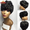 Short Human Hair Bob Wigs For Black Women Brazilian Virgin Human Hair Bob Wigs Bob Lace Front / None Lace Short Wigs With Bangs