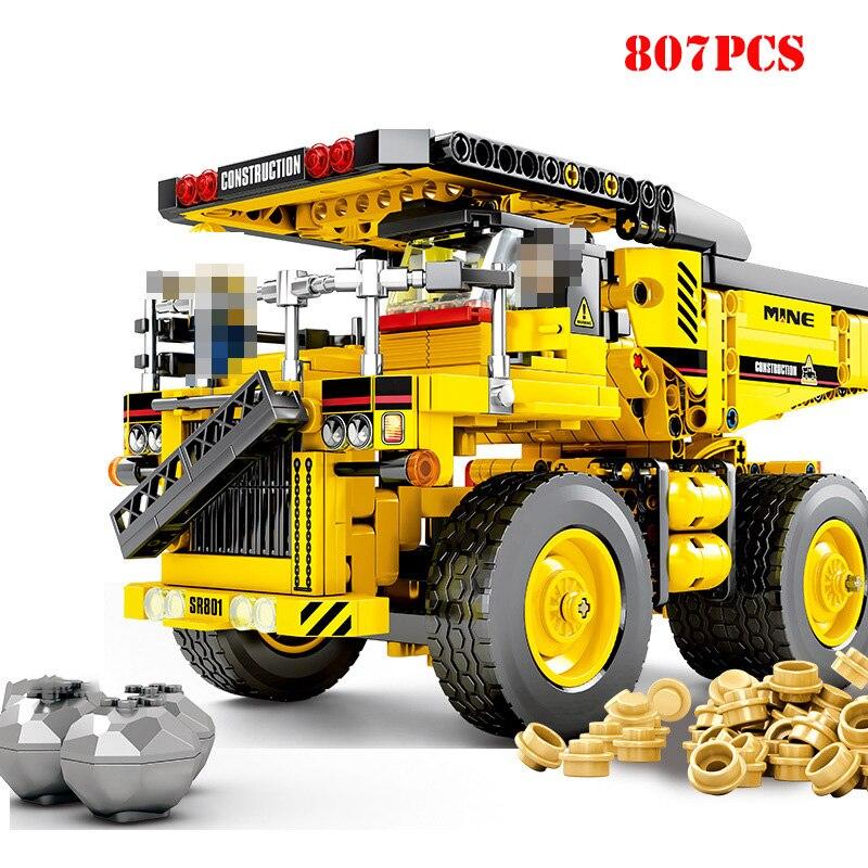 807 + pcs ingénieur Mine camion Technic blocs de Construction jouet Compatible Legoed ville Construction véhicule brique jouets pour enfants cadeau