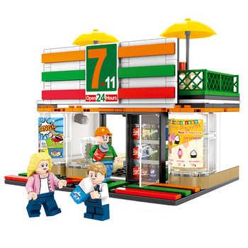 4 Sets Mini City Street Coffee Shop Hamburger Store Building Blocks Compatible City DIY Bricks Toys For Children Gifts