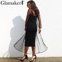 Glamaker Mesh Inlay Pearl Two Pieces Dress Women Elegant Slim Black Bodycon Summer Dress Sexy Party