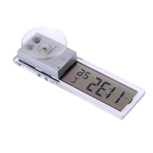 Car Mini Clock Automobile Digital LCD Horloge Thermometer Temperature Meter w/ Suction Cup AG10 Button Cell Operate Accessories