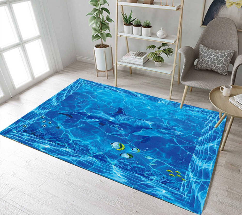 LB Ocean And Sea Underwater Life Fish Blue Area Rug Indoor