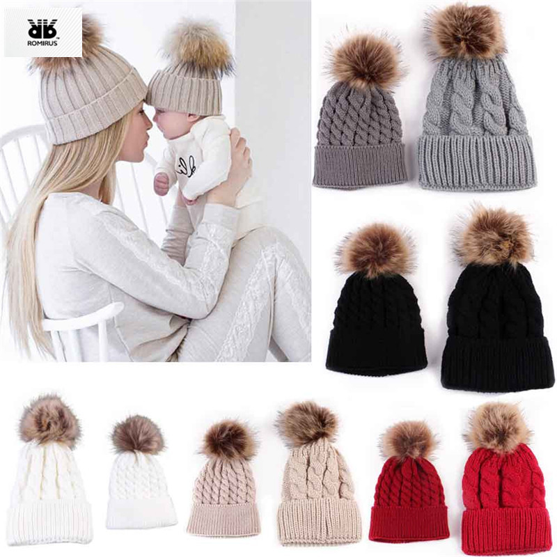 Mother & Kids Pudcoco 2019 Brand New 2pcs Mother Kids Baby Child Warm Knit Beanie Fur Pom Hat Crochet Ski Cap Usa Traveling