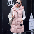 Winter Hooded Vest Women 2016 New Fashion Waistcoat Plus Size Jacket Slim Long Style Candy Colors Vests Outerwear