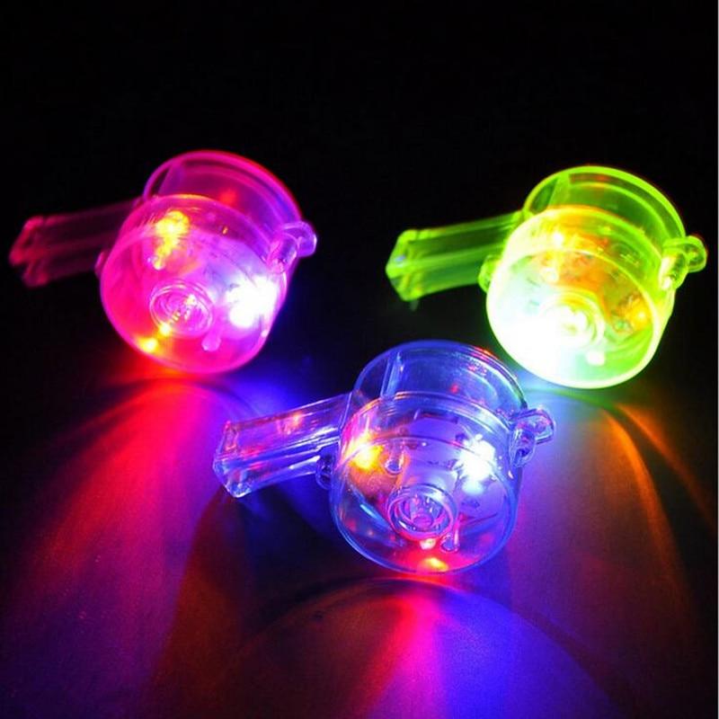 2019 neue LED Glowing Blinkende Lanyard Pfeife Noise Maker Kinder Spielzeug Jubeln Requisiten Pfeifen Rave Glow Party Liefert
