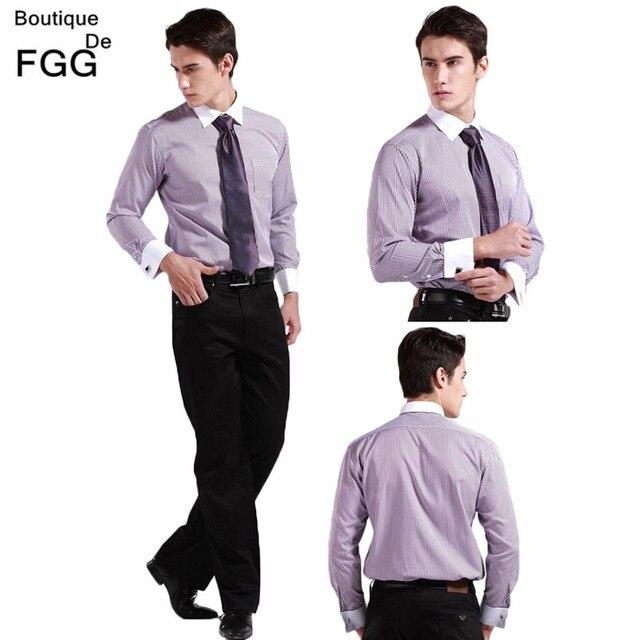 Plus Size M-5XL Black\Blue\Brown Striped Business Formal Causal Men Shirts Long Sleeve Contrast Color Collar Man Shirt