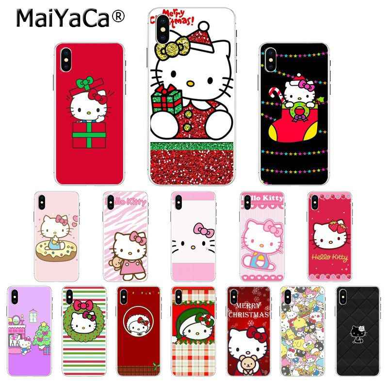 Maiyaca Hello Kitty Merry Christmas Soft Rubber Transparent Phone Case For Apple Iphone 8 7 6 6s Plus X Xs Max 5 5s Se Xr Cover