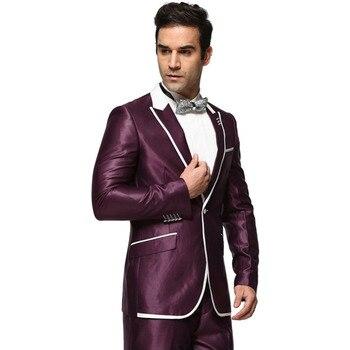Men Suit 2017 Single Button Men's Wedding Dress Suits Party Tuxedo Costume Homme New Purple Ternos Masculino