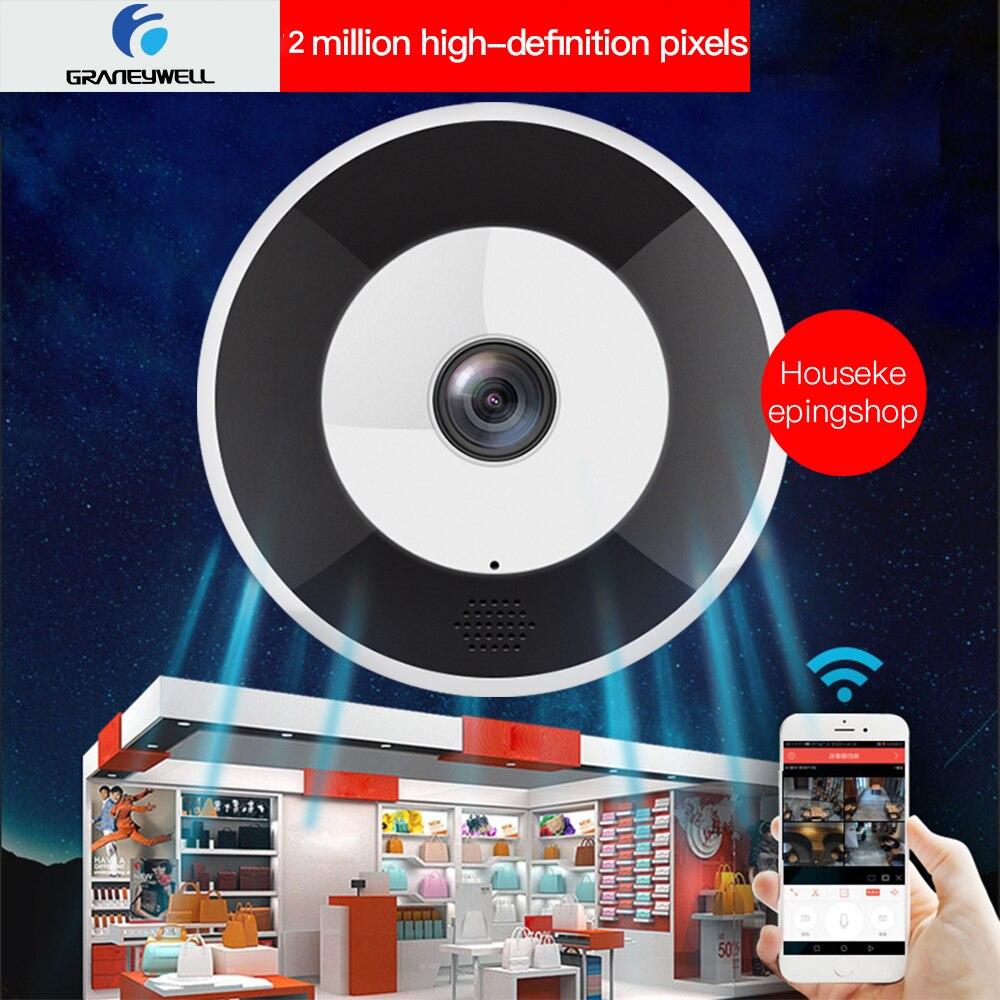 Graneywell Wifi IP Camera 1080P HD Camera Wireless Fisheye VR Panoramic 2MP IP Camera Security Video Surveillance Camera